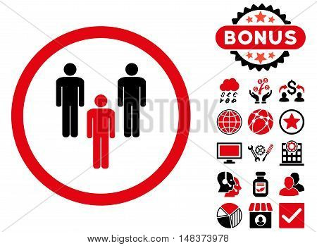Community icon with bonus pictogram. Vector illustration style is flat iconic bicolor symbols intensive red and black colors white background.