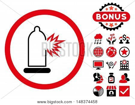 Condom Damage icon with bonus pictogram. Vector illustration style is flat iconic bicolor symbols intensive red and black colors white background.