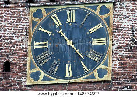 Close up of a Turku Cathedral clock.