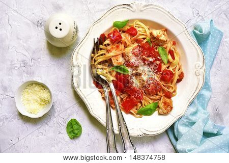 Tagliatelle With Chicken,bell Pepper And Tomatoes.top View.