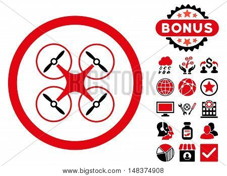 Copter icon with bonus pictogram. Vector illustration style is flat iconic bicolor symbols intensive red and black colors white background.
