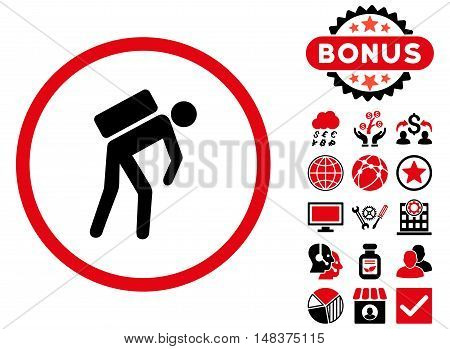 Courier icon with bonus symbols. Vector illustration style is flat iconic bicolor symbols intensive red and black colors white background.
