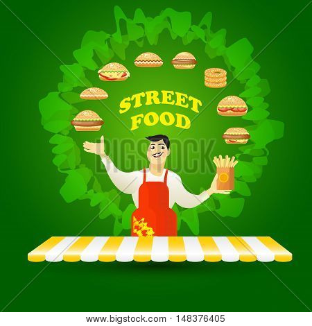 Vector illustration of young  cook seller and hamburgers on green background. Fast food card.