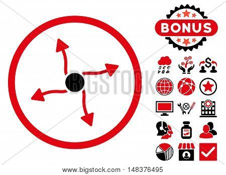 Curve Arrows icon with bonus symbols. Vector illustration style is flat iconic bicolor symbols, intensive red and black colors, white background.