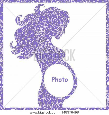 Hiqh quality original illustration of pregnant girl. frame for the first photo. pattern