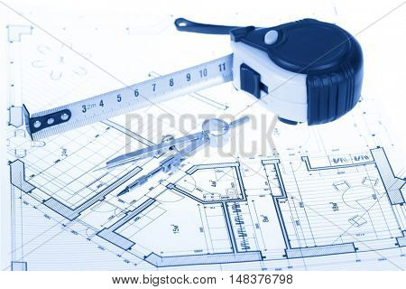 architectural blueprint - house plan, compass & tape measure