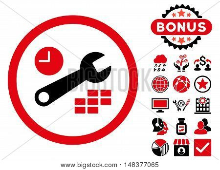 Date and Time Configuration icon with bonus images. Vector illustration style is flat iconic bicolor symbols, intensive red and black colors, white background.