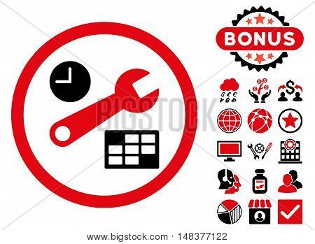 Date and Time Setup icon with bonus elements. Vector illustration style is flat iconic bicolor symbols, intensive red and black colors, white background.