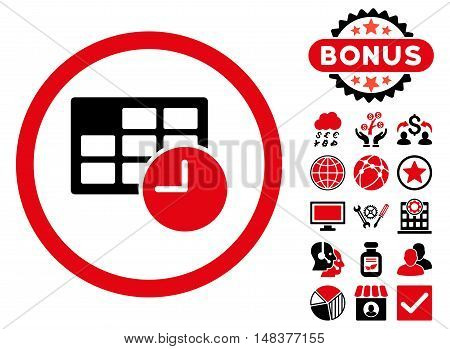 Date and Time icon with bonus elements. Vector illustration style is flat iconic bicolor symbols, intensive red and black colors, white background.