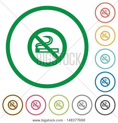 Set of no smoking sign color round outlined flat icons on white background