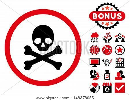 Death icon with bonus symbols. Vector illustration style is flat iconic bicolor symbols, intensive red and black colors, white background.