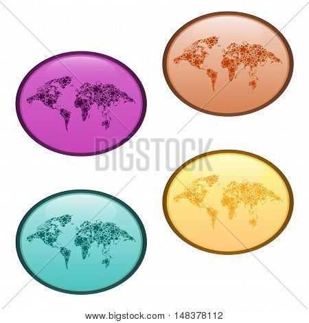 Abstract oval world map icon.The abstract world map drawn by means of stars