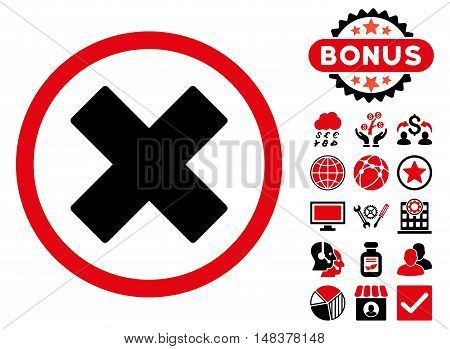 Delete X-Cross icon with bonus images. Vector illustration style is flat iconic bicolor symbols, intensive red and black colors, white background.