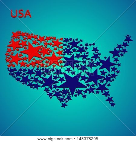 Abstract USA map painted on a background of stars.