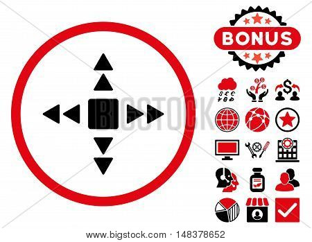 Direction Triangles icon with bonus pictogram. Vector illustration style is flat iconic bicolor symbols, intensive red and black colors, white background.