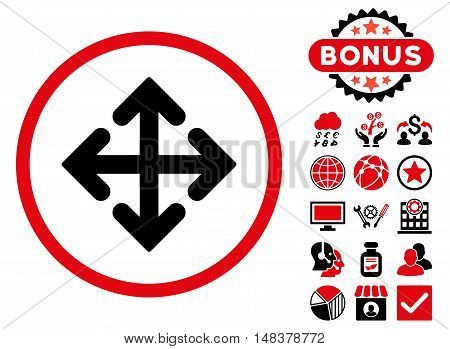 Direction Variants icon with bonus pictures. Vector illustration style is flat iconic bicolor symbols intensive red and black colors white background.
