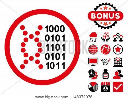 DNA Code icon with bonus symbols. Vector illustration style is flat iconic bicolor symbols intensive red and black colors white background.