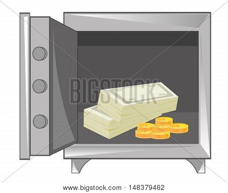 Open safe with money on white background is insulated