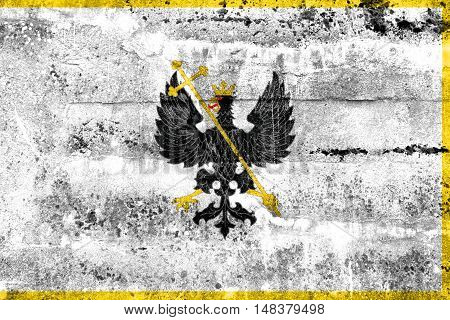 Flag Of Chernihiv, Ukraine, Painted On Dirty Wall