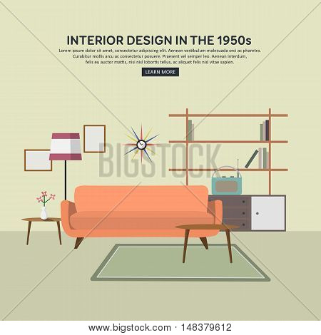 Retro interior living room with bookcase, sofa, radio, lamp, coffee table. Flat design. Vector illustration.