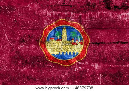 Flag Of Cordoba, Spain, Painted On Dirty Wall