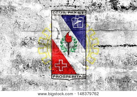 Flag Of Coronel Fabriciano, Minas Gerais State, Brazil, Painted On Dirty Wall