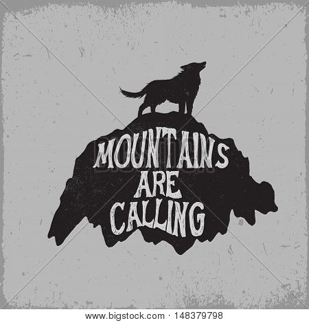 old label.Wolf howling on mountain.Typography vector design