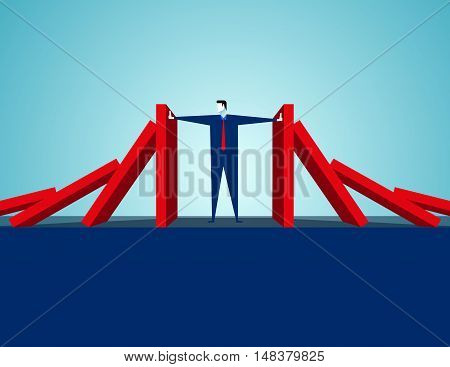 Domino Effect. Concept Business Vector Illustration. Vector Flat