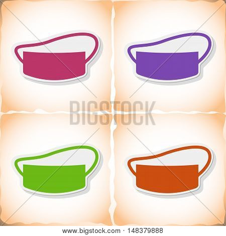 Medical gauze mask. Flat sticker with shadow on old paper. Vector illustration