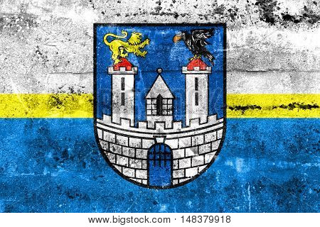 Flag Of Czestochowa With Coat Of Arms, Poland, Painted On Dirty Wall