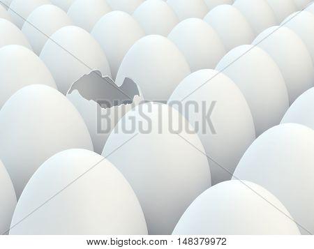 Broken egg in a group of white eggs , Easter , 3d illustration
