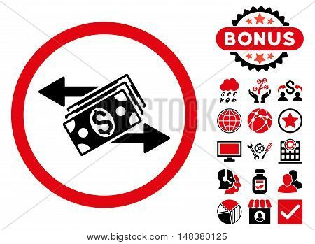 Dollar Banknotes Payments icon with bonus symbols. Vector illustration style is flat iconic bicolor symbols, intensive red and black colors, white background.