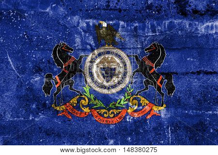 Flag Of Delaware County, Pennsylvania, Usa, Painted On Dirty Wall