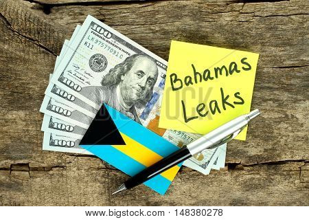 Bahamas Leaks scandal concept on wooden background