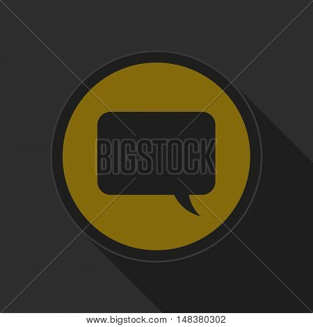 dark gray and yellow icon - speech bubble on circle with long shadow