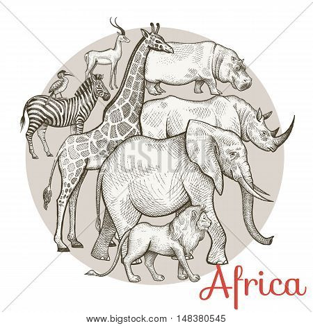 African animals elephant lion giraffe rhinoceros hippopotamus zebra antelope. Composition in a circle. Vector illustration. Design for print on T-shirts clothing bags covers brochures.