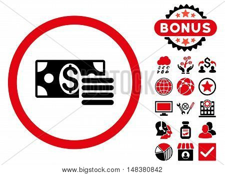 Dollar Cash icon with bonus design elements. Vector illustration style is flat iconic bicolor symbols, intensive red and black colors, white background.