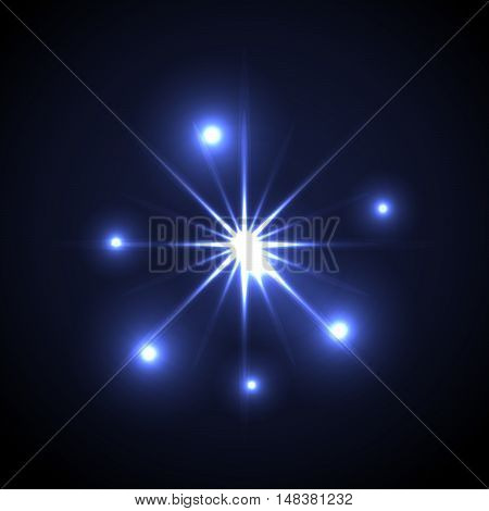 Shining vector star illustration. Glow transparent spot radiance on blue background.