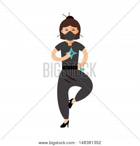 Warrior in black dress with two shuriken. Isolated on a White Background
