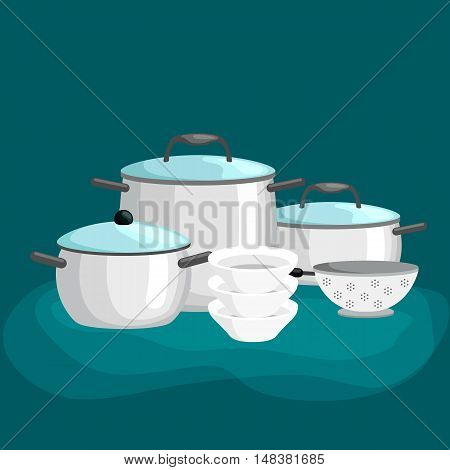 Domestic cooking tools and equipment, pans and pots realistic set with frying pan saucepan and bowl isolated vector illustration set