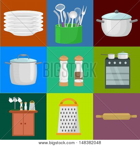 Kitchenware icons vector set. Cartoon kitchen utensil collection spoon pot food knife fork cup pan spatula ladle plate dish bowl colander whisk grater. Steel kitchen household cutlery, cooking equipment tools