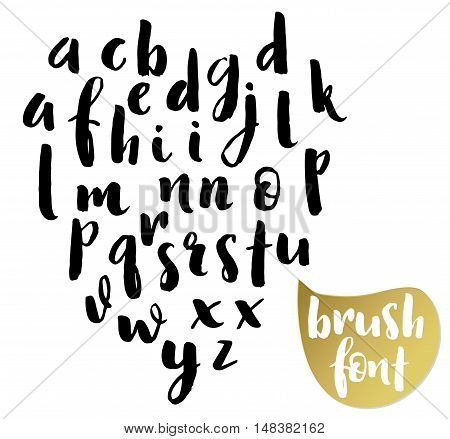 Hand drawn brushpen alphabet, modern calligraphic letters for your design.
