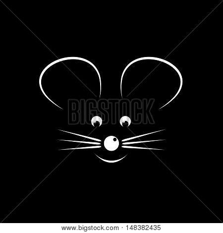 Vector sign abstract stylized mouse isolated on black