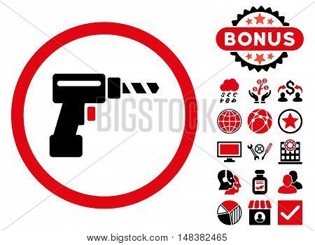 Drill icon with bonus images. Vector illustration style is flat iconic bicolor symbols, intensive red and black colors, white background.