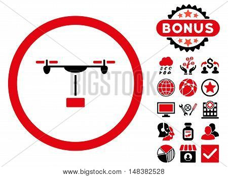 Drone Shipment icon with bonus images. Vector illustration style is flat iconic bicolor symbols intensive red and black colors white background.