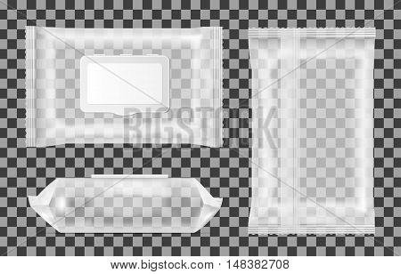 Transparent wet wipes package with flap. Mock up