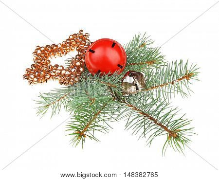 Bells, guelder berries and pine-tree branch isolated on white