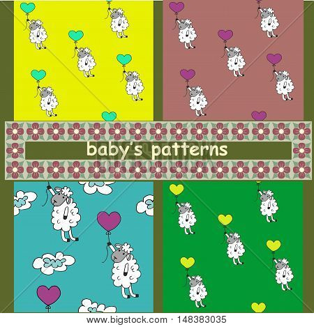 Children s pattern. A set of images. Sheep with balloons.