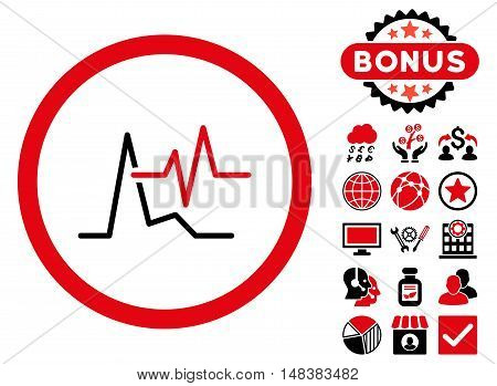 ECG icon with bonus pictogram. Vector illustration style is flat iconic bicolor symbols, intensive red and black colors, white background.