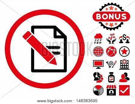 Edit Records icon with bonus design elements. Vector illustration style is flat iconic bicolor symbols, intensive red and black colors, white background.